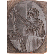 19th Century Printing Block / Cliché of a Saint Gertrude of Nivelles - from Bavaria - Woodprint