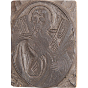 19th Century Printing Block / Cliché of Saint Andrew the Apostle from Bavaria - Wood