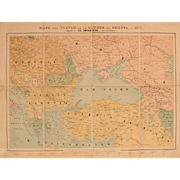 "19th Century Map of the Russo-Turkish War in 1877 - Lithography ""Mapa del teatro de la guerra de Oriente en 1877"""