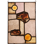 """Two Sacred Hands"" Stained Glass Panel with original 18th Century Baroque Fragments from the Church in Belecke Germany"