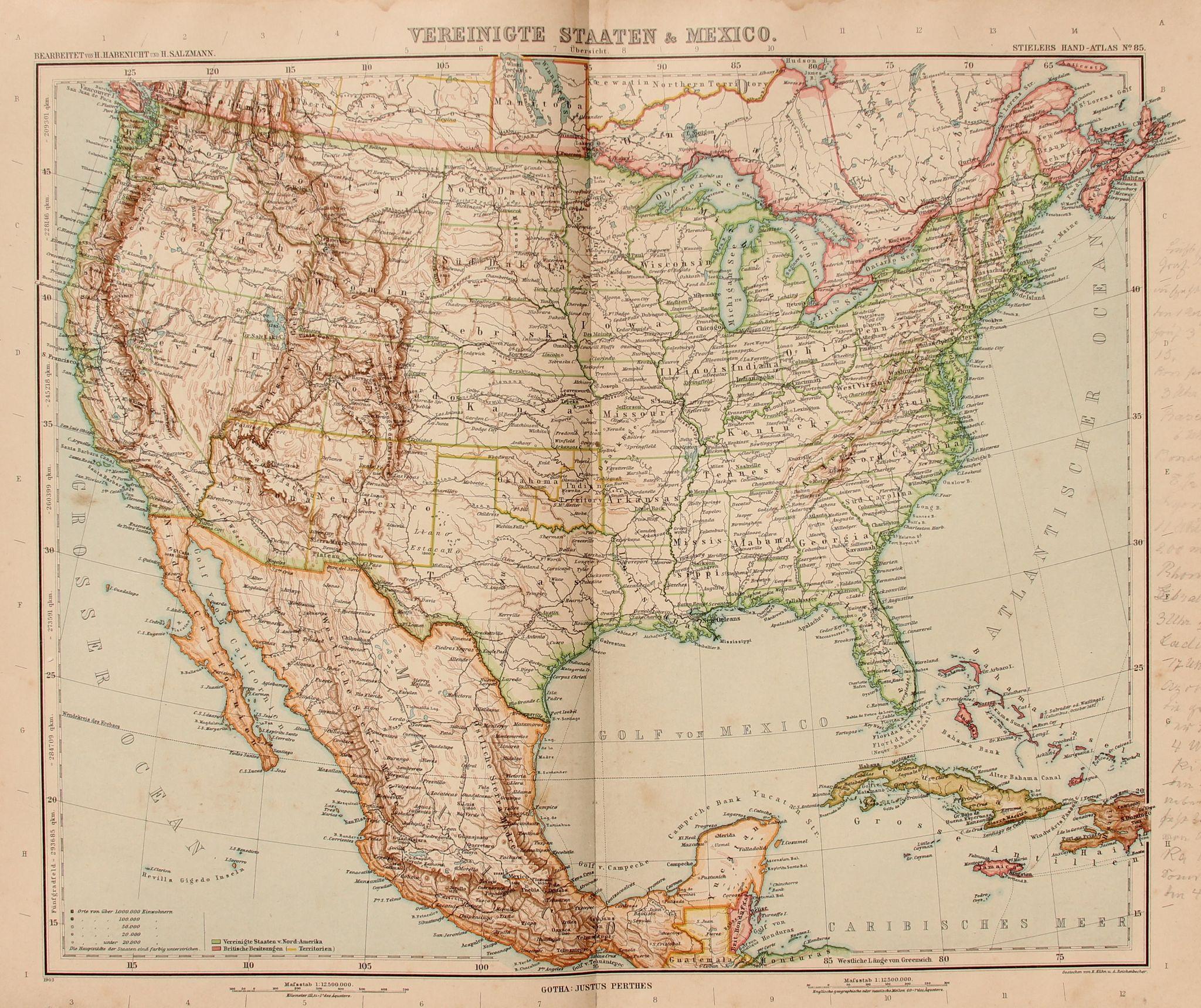 Art nouveau map of the usa mexico jamaica cuba stieler 1903 art nouveau map of the usa mexico jamaica cuba stieler 1903 gumiabroncs Gallery