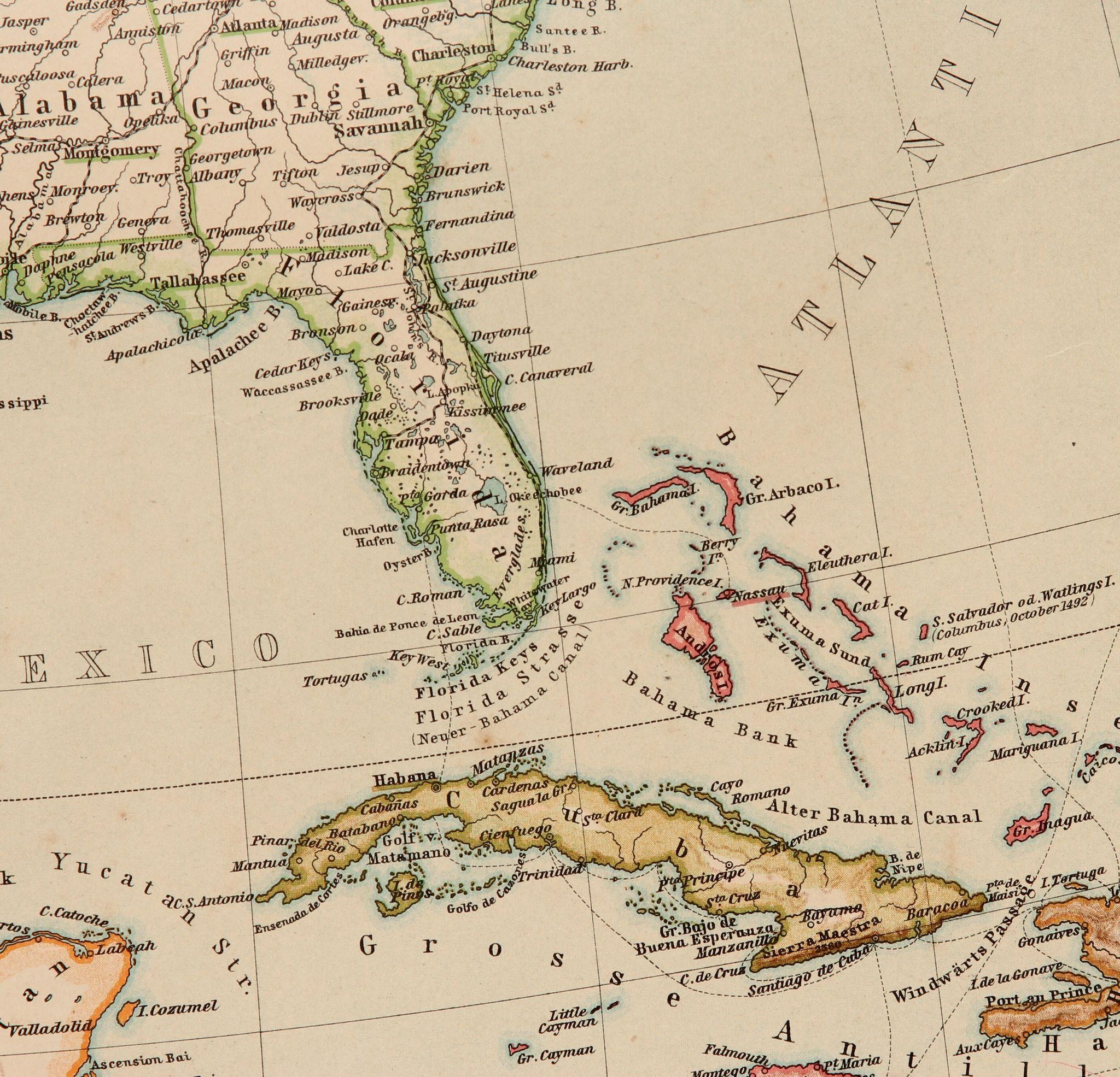 Art Nouveau Map Of The USA Mexico Jamaica Cuba Stieler - Map of jamaica and us