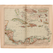 Art Nouveau Map of the Carribean / West Indies (Stieler 1902)