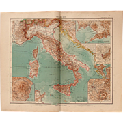 Art Nouveau Map of Italy with 5 detailed maps (Stieler 1904)