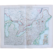 Art Nouveau Map of the North East USA incl. New York, Boston, Philadelphia, Washington, Chicago and more (Stieler 1902)