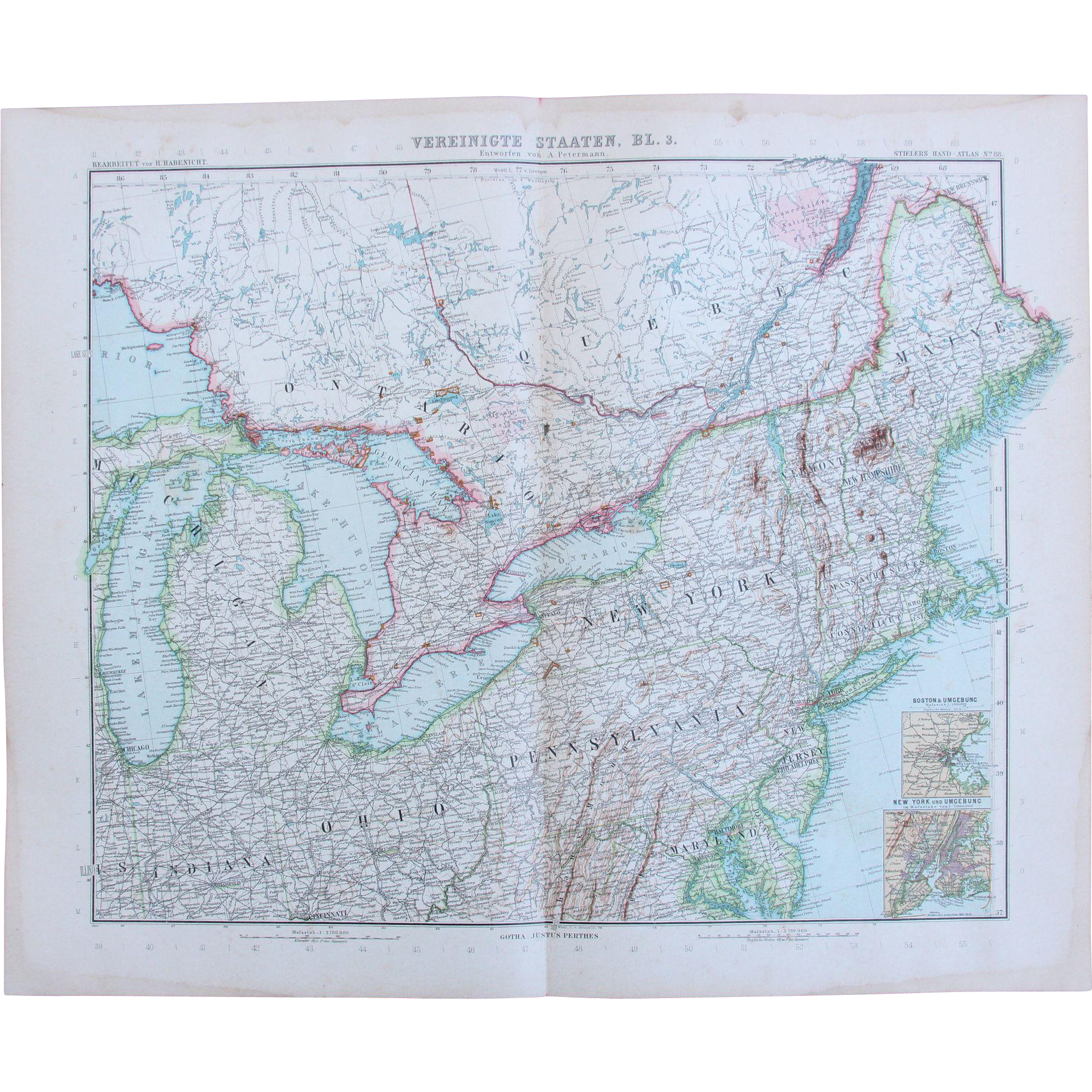 Art Nouveau Map of the North East USA incl New York Boston from