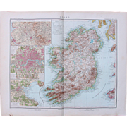 Art Nouveau Map of Ireland with additional detailed maps of London, Dublin & Area around Manchester (Stieler 1903)