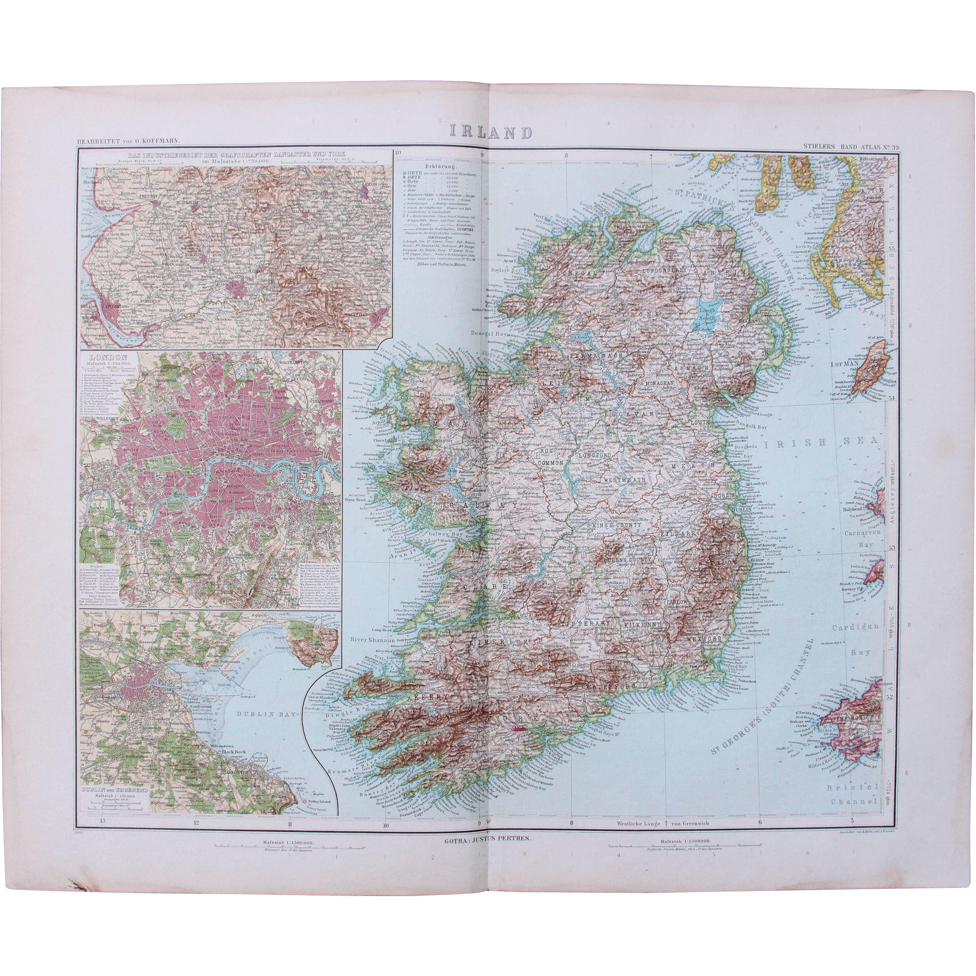 Art Nouveau Map of Ireland with additional detailed maps of London