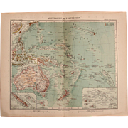 Art Nouveau Map of Australia, New Zealand, Hawaii & the South Sea (Stieler 1904) - Red Tag Sale Item