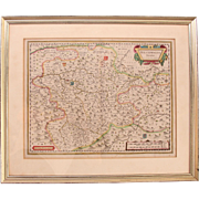 17th Century Map of Westphalia Germany by Blaeu in beautiful double glass frame