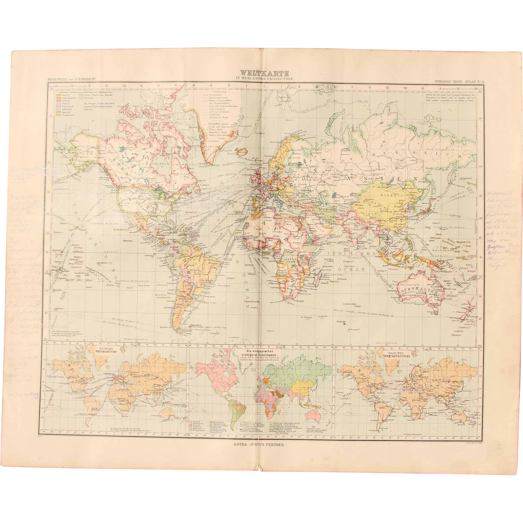 Art nouveau map of the world world map stieler 1905 vianova art nouveau map of the world world map stieler 1905 vianova ruby lane gumiabroncs Gallery