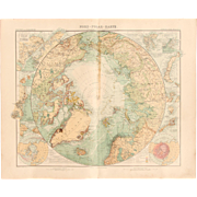 Art Nouveau Map of the Arctic / North Polar Map (Stieler 1905)
