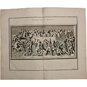"18th Century Copper Engraving ""Attack with the Ram"" from L'antiquité expliquée et représentée en figures by Bernard de Montfaucon"