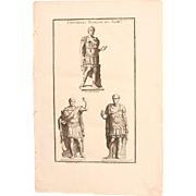 18th Century Copper Engraving of Roman Emperors in Arms from L'antiquité expliquée et représentée en figures by Bernard de Montfaucon