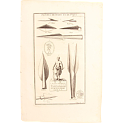 18th Century Copper Engraving of Ancient Arrow- and Spearheads from L'antiquité expliquée et représentée en figures by Bernard de Montfaucon