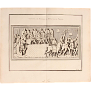 "18th Century Copper Engraving of ""Council of War of Emperor Trajan"" from L'antiquité expliquée et représentée en figures by Bernard de Montfaucon"