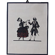 19th Century Scherenschnitt or Cut Paper Silhouette of a Baroque Couple Dancing from Germany