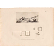 1802 Original Site Plan & View of the Temple in Thebes - Copper Engraving from Napoleons Travels to Egypt (Vivant Denon) Page 17