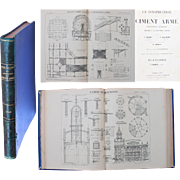 "1909 Atlas about Construction in Concrete with 67 Construction Plans - ""La Construction en Ciment Arme"" featuring 1900 Expo Globe & more"