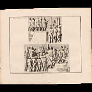"""18th Century Copper Engraving """"Two Speeches"""" from L'antiquité expliquée et représentée en figures by Bernard de Montfaucon"""