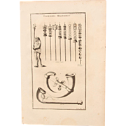 18th Century Copper Engraving of Ancient Military Insignia from L'antiquité expliquée et représentée en figures by Bernard de Montfaucon