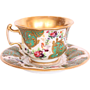18th Century Hand Painted Baroque Cup & Saucer with amazing Floral Design, Gilt and Birds