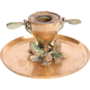 Art Nouveau Brass Bronze Candle Holder with Frogs & Dragonflies - Former Inkwell