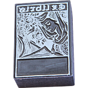 Original Art Deco Printing Block / Cliché of Exlibris with typical 1920's Decor - Steel Engraving
