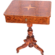 Original Biedermeier Sewing Desk / Side Table - 1830's German Cherry Wood Veneer Sewing Stand with Drawer