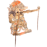 19th Century Large Original Indonesian Leather Shadow Puppet - Wayang