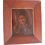 "19th Century Oil Painting ""Old Lady"" by Else Dassel"