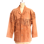 Vintage Brown Suede Leather Minnetonka Fringe Jacket