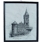 Late 19th Century Ink Drawing of the Castle of Königsberg in Prussia