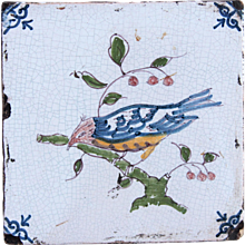 17th century Dutch Delft Polychrome Pottery Tile with tropical Bird