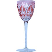 1920's Bohemian Lead Crystal Red / Pink Wine Glass / Goblet