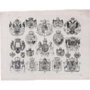 1850's Original Antique Steel Engraving - Coat of Arms of European Royalty