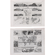 Set of Two 1850's Original Antique steel engravings - Volcanoes & Wind