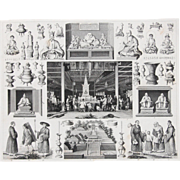 1850's Original Antique Steel Engraving - Buddhism