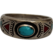 Vintage Southwestern American Sterling Silver Turquoise Coral Ring
