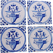 19th century Set of four Dutch Delft Tiles - Blue and White Pottery Tiles with bouquet ( bloempotten )