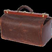 1910's Leather Doctors Bag - Antique Gladstone Bag