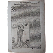 "16th Century Woodcut of a ""Cosmograph""  / Book page of Cosmographia (Sebastian Münster)"
