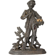 "Original Antique Bronzed Metal Sculpture ""The young Gardener"", Continental Europe circa 1890"
