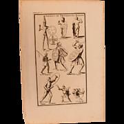 18th Century Copper Engraving of Ancient Soldiers of different Nations from L'antiquité expliquée et représentée en figures by Bernard de Montfaucon