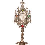 Rare 1900's Pewter Jeweled Doll House Monstrance