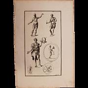 18th Century Copper Engraving of Ancient Soldiers from L'antiquité expliquée et représentée en figures by Bernard de Montfaucon