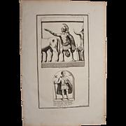 18th Century Copper Engraving of Ancient Reliefs from L'antiquité expliquée et représentée en figures by Bernard de Montfaucon