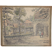1910's Original Art Nouveau Charcoal and Pastel Painting of the Saltwater Spa of Raffelsberg by Franz Brantzky