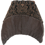 "19th Century Antique Silk & Hand Beaded Hood / Hat / Bonnet / Cap Mourning ""Stülpchen"" from Hesse Germany"
