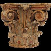 18th Century Corinthian Capital Handcarved Wood Baroque Polychrome